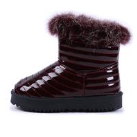 2014 New children boots winter Waterproof cotton shoes Girl's Real rabbit hair children's girls boots size:27-36