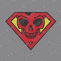 Free Shipping 30Pcs/Lot Wholesale Bling Diamond Rhinestone Skull Heat Transfers Iron On For Garment Accessory
