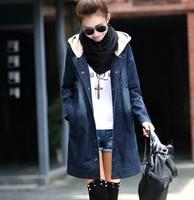 2014 New autumn winter desigual  jeans jacket women water-wash denim jacket hooded plus size casual coats feminino overcoat blue