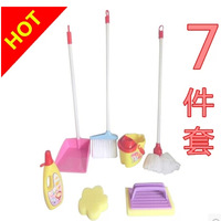 hot selling  7PCS Children's baby clean clean mop broom sweeps the floor mop vertical dustpan dragging bucket play toys suit