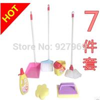 hot selling  7PCS Children's baby clean clean mop broom sweeps the floor mop vertical dustpan dragging bucket play toys suit