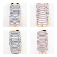 100% cotton long sleeve o-neck black/red striped women's clothes brief cute style women dresses
