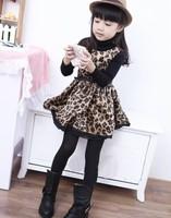 6pcs/lot wholesale Baby Girls Leopard Cotton Dress Patchwork Belt Princess Dresses girls leopard dress