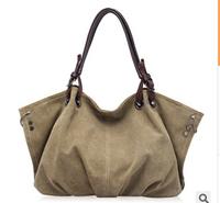 Fashion casual canvas shoulder bag diagonal portable retro big handbags
