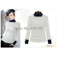 Fall 2014 the new European and American style stylish slim fit lapel women's sweaters long sleeve knitted Cardigan