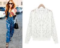 free shipping autuman new arrived 2014  women's knitted lacer Fashion jackets women big size women coat