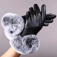 Free shipping, 2014 Ladies Lambskin Leather Gloves,  High Quality Rex Fur sheepskin gloves, ST14912-1