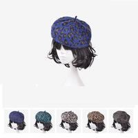 High Quality Leopard Color Warm Wool Winter Women Girl Beret French Artist Beanie Hat Ski Cap 5 Colors
