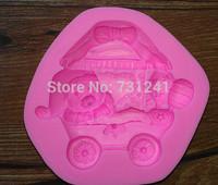 Design 382 Christmas Theme Bear&Ice-cream Car  Silicone 3D Fondant Cake Mold,Cake Decoration Tool