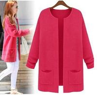 2014 s autumn candy colored Women's loose big yards long sleeve long cardigan sweater coat women free shipping