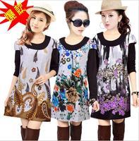 2014 Women Winter Dress Plus Size XXL XXXL 4XL Oversized Sweater Dress Women's Casual Loose Wool Long Sleeve Knitted Dresses