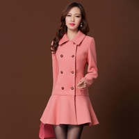Twods solid color double breasted skirt hem woolen coat turn down collar pink coat women wool winter overcoat