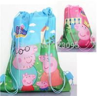 peppa pig school bag peppa saco bolsa sacola Cartoon backpack Bag-woven fabrics Kid's Schoolbag children's birthday gift