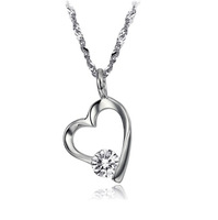 2014 New Fashion Platinum Plated Heart Pendant Necklaces With CZ Crystal Jewelry for Women Wholesale,Free Shipping