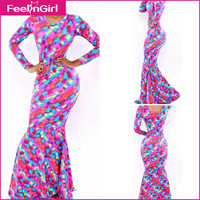 Floor-Length 2014 New Long Sleeve Mermaid Print Dress Prom Maxi Dress To Party Club Cheap Clothes From China