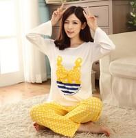 Free shipping Pajama Sets O-Neck Long Sleeve women Sleepwear autumn winter 100% Cotton Pajamas Women mix colros M-XL Wholesale