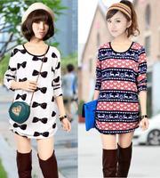 2014 New Fashion Winter Dress Plus Size XXL XXXL 4XL Oersized Sweater Dress For Women Casual Loose Cotton & Wool Winter Dresses
