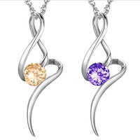 FREE SHIPPING 18K Platinum Plated Austrian Crystal Classic Pendant Necklace Wholesale