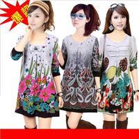 Women Fashion Autumn Winter  Woolen Women Sweaters Long-sleeve Print Oversized 3XL plus Size Tunic Sweater Dress Free Shipping