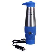12V Multifunction Digital LED Display Adjustable Stainless Car Heatin Cup Blue
