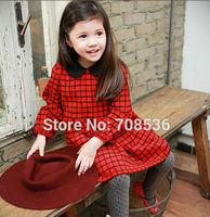 Free shipping 5pc/lot Fall Fashion Peter Pan Collar Long Sleeve Plaid Girl Dress for kids Children Red Plaid Dress / Blouse