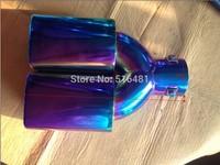 Universal Tip 6cm Inlet Color Stainless Steel Exhaust Resonator Muffler