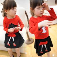 new 2014 girl baby spring autumn kid children pants child woman clothing children coco Miss t shirt skirt 2 pcs / set sets