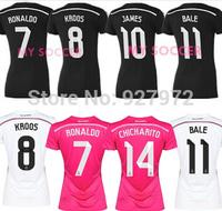 Real Madrid jersey Women 2015 Real Madrid home away woman  mujeres soccer jerseys JAMES Ronaldo BALE RAMOS girl soccer shirt