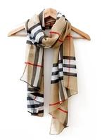 Free Shipping Brand Fashion British Plaid Chiffon Scarf Chic Women Shawl Female Wrap Scraf