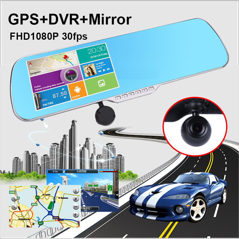 "5"" Capacitance Car DVR with1920*1080P 30fps Android 4.0 GPS Navigation Car Camera Rearview Mirror All Working at the same time(China (Mainland))"