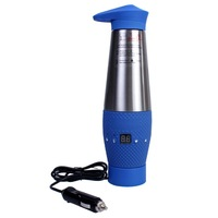 12V Multifunction Digital LED Display Adjustable Stainless Car Heatin Cup Blue