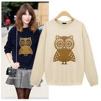 free shipping 2014 autumn the European station new hoodies long sleeved sweater owl pattern fashion jackets women women coat