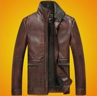 casual winter fleece leather jacket men brown mens motorcycle jacket wholesale PU jaqueta de couro masculina 2XL 3XL BW5