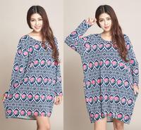 XXL XXXL 4XL Big Plus Size Sweater Dress Dresses Batwing Sleeve For Women Casual Loose Floral Print Dresses New Fashion 2014