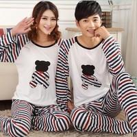 Lovely fashion cartoon Stripes bear print man/women long-sleeved pants pull strength cotton leisure pajamas household to take