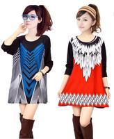 2014 Tops Selling Women Winter Dress XXL XXXL 4XL Plus Size Sweater Dress Women's Casual Print Oversized Winter Dresses Wool