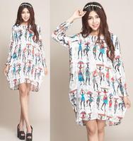 XXL XXXL 4XL Big Plus Size Dresses Winter Dresses New Fashion 2014 Women Casual Vintage Dress Long Women's Cotton Sweater Dress
