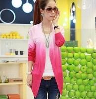 2014 Women Lace Sweet Candy Color Crochet Knit Top Thin Blouse Women Sweater Cardigan