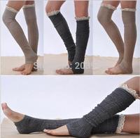 wholesale 5pairs/lot New design cotton long knit lace boot socks leg warmers 5 color available 58cm length