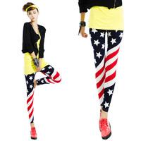 2014 new fashion women thin British American Flag Stars Stripes nine Leggings flag  winter warm lady free shipping