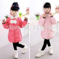 2014 new children's hooded down jacket,kids girls long sections fur ball dot thick down jacket,children winter coat