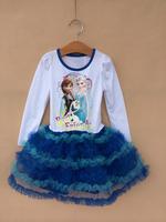 Wholesale 2014 Autumn Frozen Anna&Elisa&Olaf Clothes Best friend Long sleeve Dress for Girl Brand TuTu Dress 1lot/5pcs D011