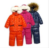 2014 New Children's Winter Clothing Set baby boy Ski Suit Windproof Solid Zipper Warm coat hooded Fur Jackets+Bib Pants 4 Colors