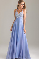 2014 A-line Halter Colorful Free Shipping Beading Crystals Elegant Beading Sequins Floor Length Prom Dresses