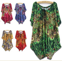 2014 New Fashion Women Summer Autumn Dress Animal Birds Print Bat Long Sleeve Dresses Women's Long Shirts Plus Size 4XL 5XL 6XL