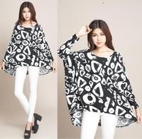2014 New Fashion Women's Casual Loose Winter Shirts T-shirts Batwing Sleeve Plus Size 4XL 5XL 6XL Women Long Shirts Tops Tees