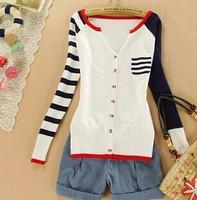 New 2014 spring Korean college style Women Cardigan sweater Crochet Knit Top Pocket V-neck sweater for women