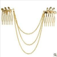 Free Shipping Fashion Gold Metal Long Tassel Chains Cuff Hair Combs Women Female Hairband Headwear A6R16 (Minimal mix styles $5)