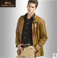 Wholesale 2014 New HOT GENTLEMEN'S Black pu leather classic fashion Slim outdoor Coat Motorcycle jacket szie M L XL 2XL CYP105