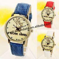 100pcs/lot Men Women Wrist Watches 2014 Fashion Three Fist Work Hard Positive Energy Denim Cloth Strap Quartz Retro Watches